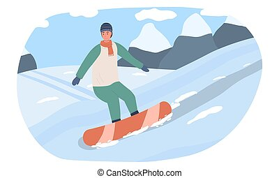 Young man goes down the mountain snowboarding