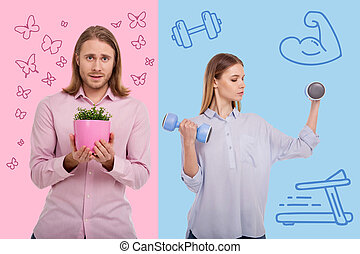 Young man growing flowers and his strong wife doing exercises with hand weights