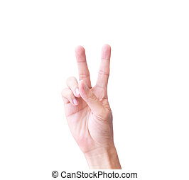 Young man hand show V sign with white background