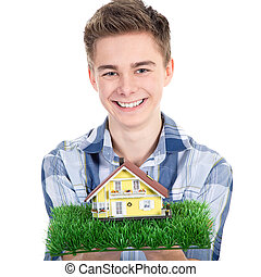 young man hands over house