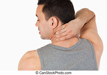 Young man having a back pain