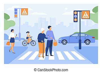 Young man helping old woman crossing road