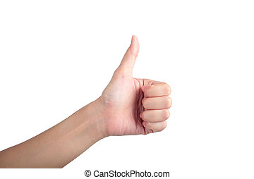 Young man his hand like thumb up isolated white background.