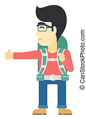 Young man hitchhiking. - An asian man hitchhiking trying to...