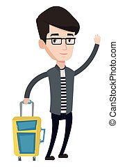 Young man hitchhiking vector illustration. - Caucasian man...
