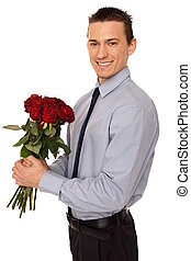 Young man hold bouquet of roses