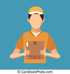 young man hold box delivery concept