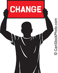 young man holding a banner - change - young man (...