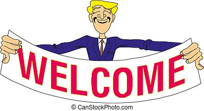 Young man holding a banner with the word welcome. Vector illustration