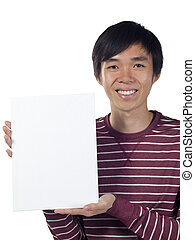 Young man holding a blank canvas