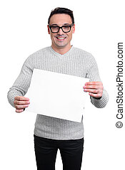 Young man holding a blank white board, isolated
