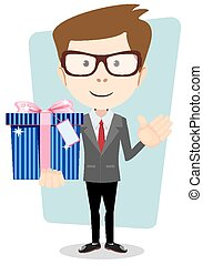 Young man holding a gift, vector