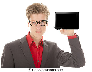 Young man holding a mini tablet isolated on white background