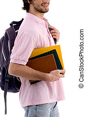 young man holding bag and books