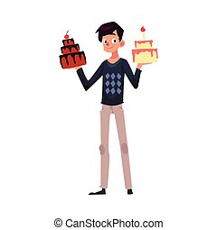 Young man holding birthday cakes, getting ready for party