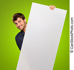 Young Man Holding Blank Paper