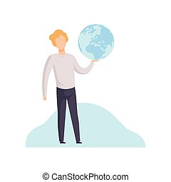Young Man Holding Earth Globe in His Hands Vector Illustration