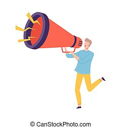 Young Man Holding Huge Megaphone Making Announcement and Screaming Information Vector Illustration