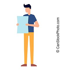 young man holding paper on white background