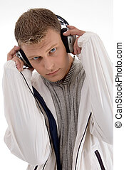 young man holding the headphone