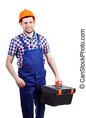 Young man holding toolbox