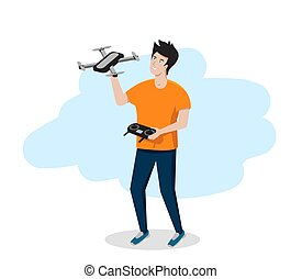 Young man holds a drone or quadrocopter in his hands. Vector illustration.