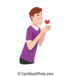 Young man holds a heart in his hands. Vector illustration.