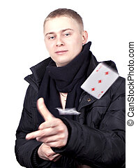 young man in a black jacket with the cards in their hands
