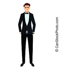 Young man in a black tuxedo