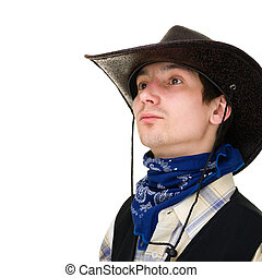 young man in a cowboy hat