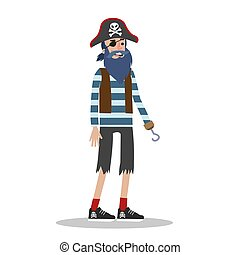 Young man in a halloween pirate costume.