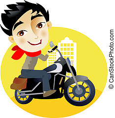 Young man in a motorcycle