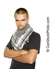 Young man in a Palestinian scarf