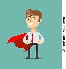 Young man in a red cape superhero