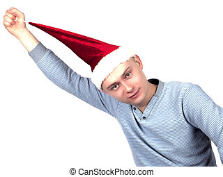 young man in a Santa Claus hat and a blue sweater