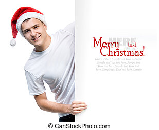 young man in a Santa Claus hat