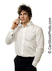 Young man in a shirt isolated on a white background