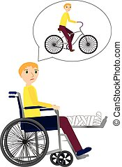 Young Man in a wheelchair with broken bone dreaming about riding bicycle