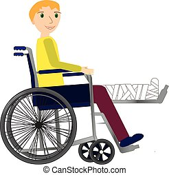 Young Man in a wheelchair with broken bone.