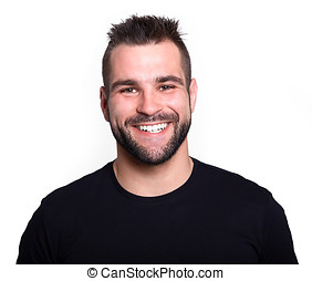 Young man in black t-shirt smiling