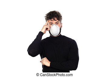 Young man in black with a mask