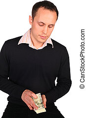 Young man in black with money