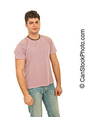 Young man in blank stripes t-shirt