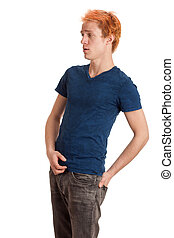 Young Man in Blue Shirt