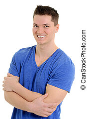 young man in blue T shirt