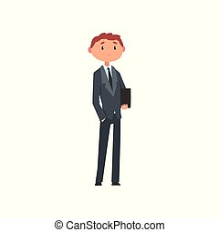 Young man in business suit with briefcase cartoon vector Illustration on a white background.