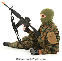 Young Man in Camo with Air Rifle