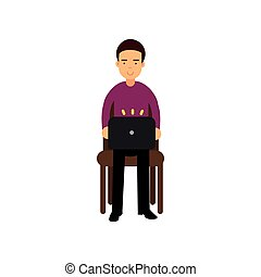 Young man in casual clothes sitting on a chair working with laptop, male student using electronic device vector Illustration