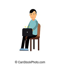 Young man in casual clothes sitting on a chair working with laptop, man using electronic device vector Illustration