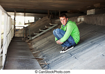 Young man in depression